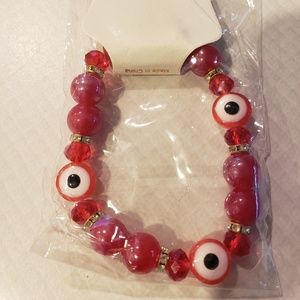 Jewelry - NWT Red Evil Eye Beaded Fashion Bracelet